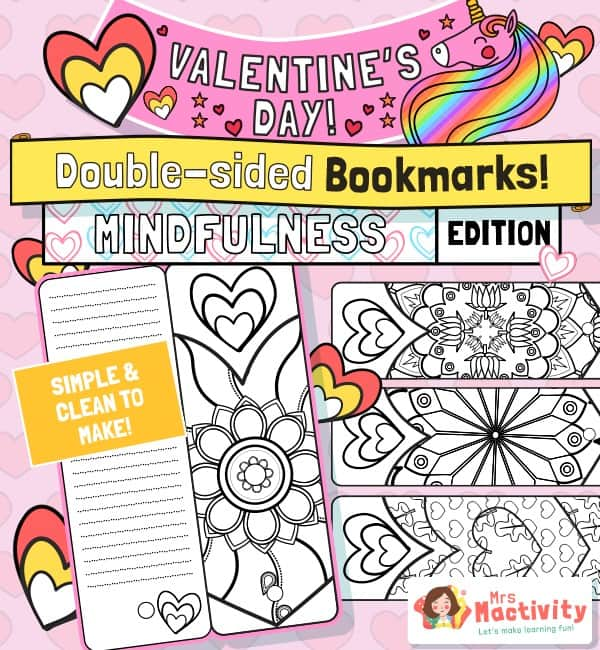 Valentine's Day mindfulness bookmarks