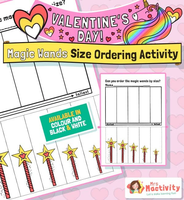 Magic Wands Size Ordering Activity