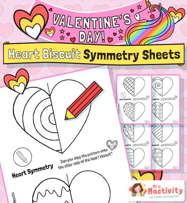 Valentine's Day symmetry worksheet