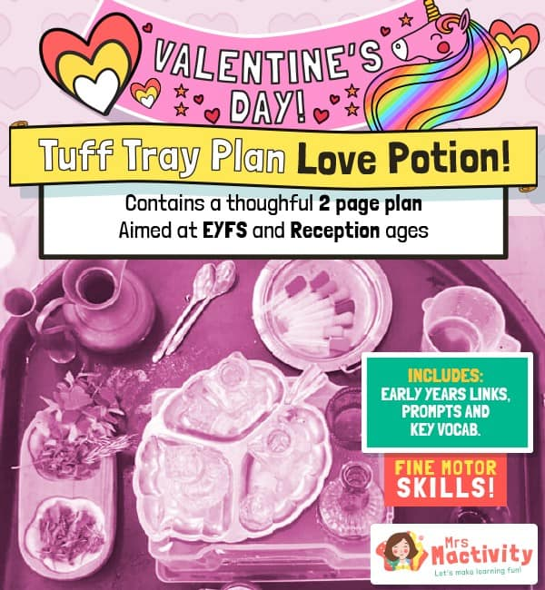 Valentine's Day EYFS tuff tray love potions planning