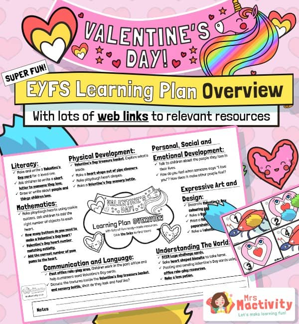 Valentine's Day EYFS planning overview