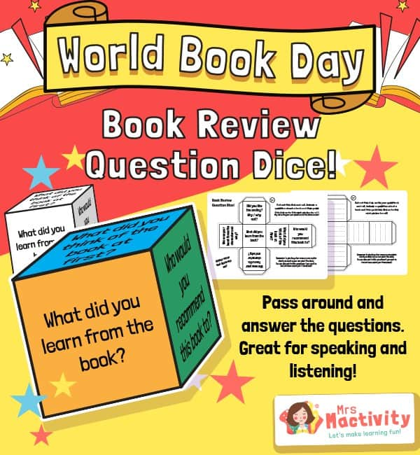 World Book Day Book Review Question Dice