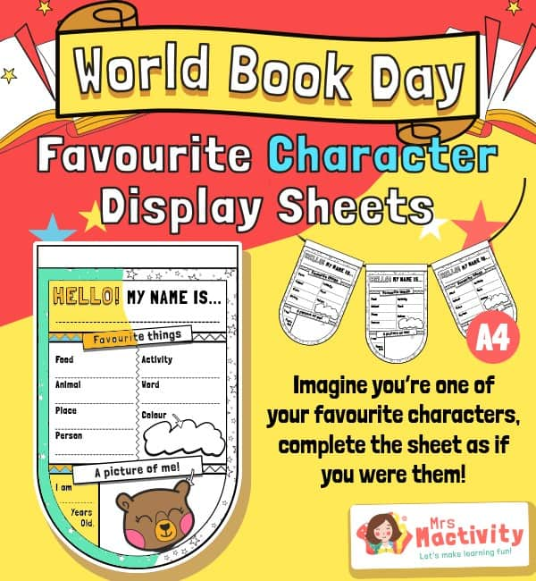 World Book Day Character Activity Sheet