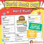 world book day word activity worksheet