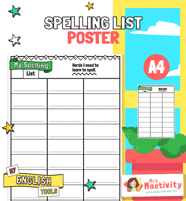 Spelling List Words Poster
