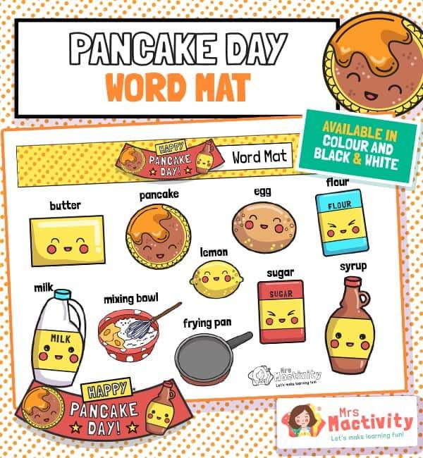 Pancake day word mat