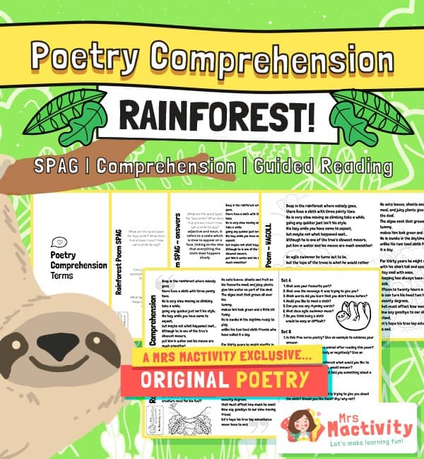 Original Rainforest Poetry Comprehension and Guided Reading Activity
