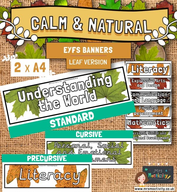 Calm And Natural EYFS Areas of Learning Banners - Leaves