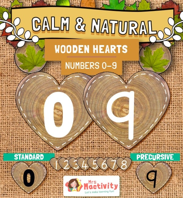Numbers on wooden hearts display