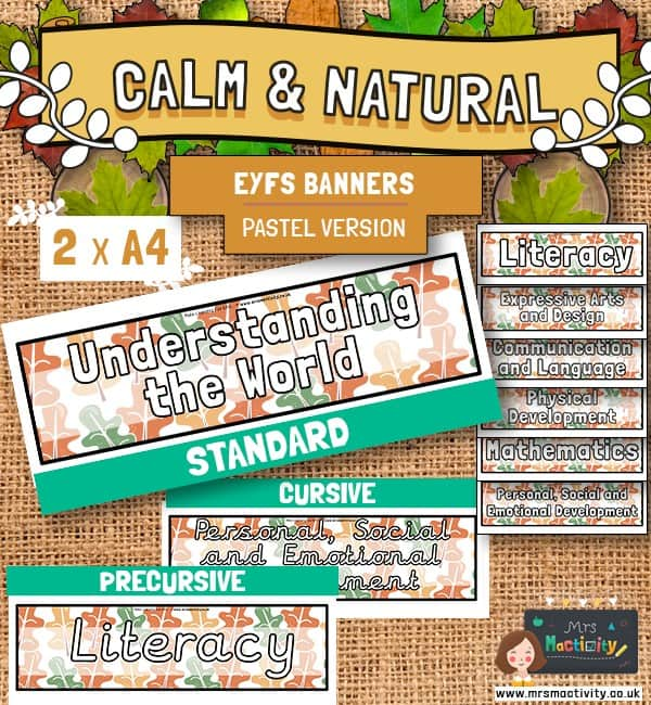 Calm And Natural EYFS Areas of Learning Banners - Pastel