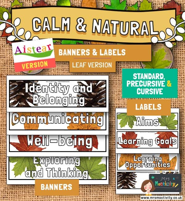 AISTEAR calm and natural classroom display banners and labels.