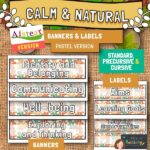AISTEAR Calm and Natural Classroom Banners and Labels - Pastel