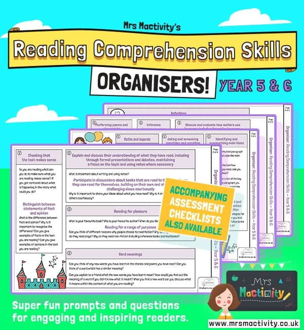 Year 5/6 Reading Comprehension Skills Organiser