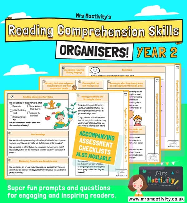 Year 2 reading comprehension skills organiser