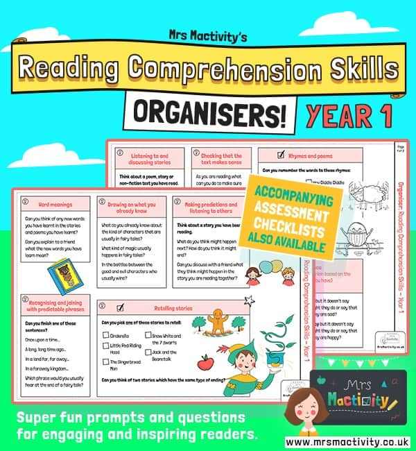Year 1 reading comprehension skills organisers