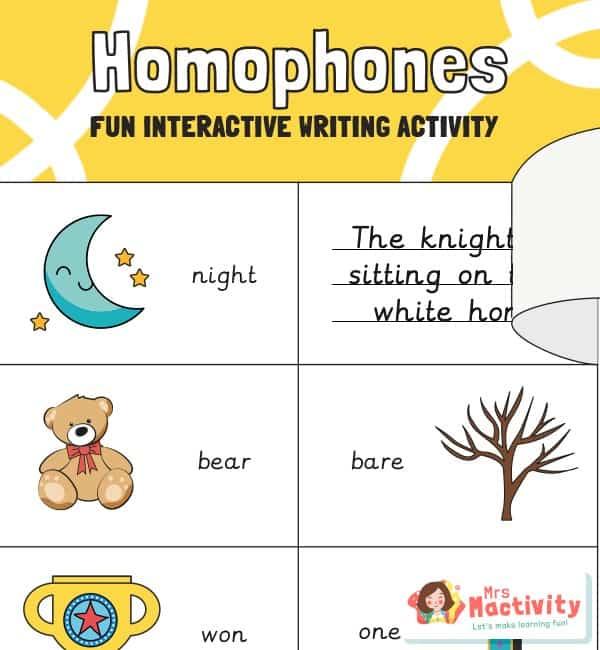 Homophone spelling and grammar activity
