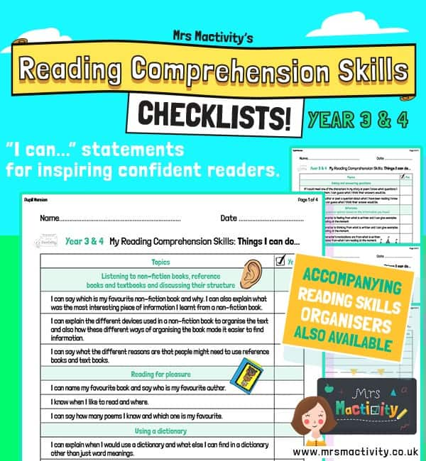 Year 3/4 Reading Comprehension Skills Assessment Checklist