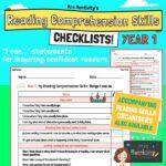 Year 1 Reading Comprehension Skills Assessment Checklist