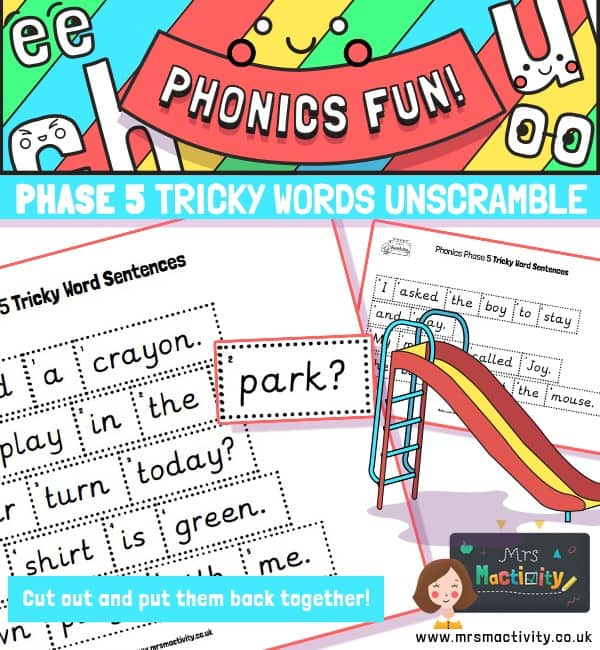 Phase 5 Tricky Words Sentence Unscramble