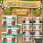 Calm and Natural Classroom Area Labels - Leaves