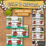 Calm and Natural Classroom Labels - Leaves