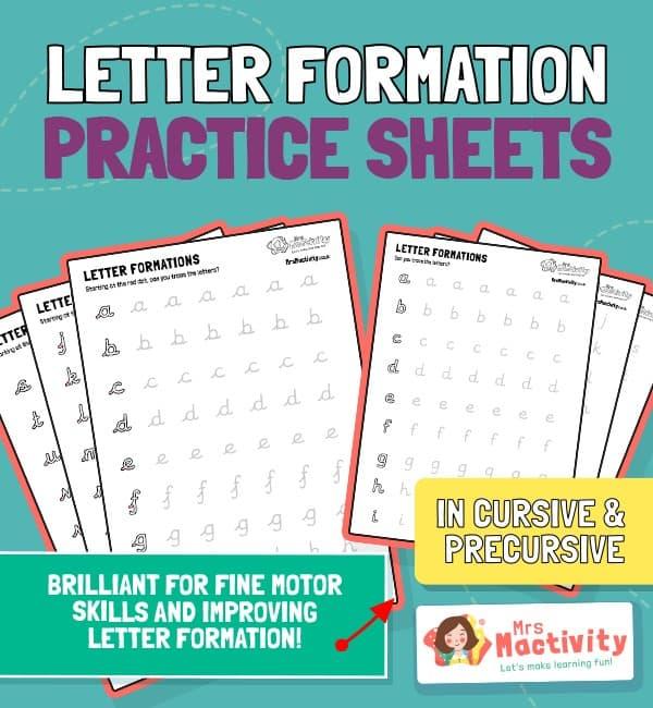 Alphabet Letter Formation Practice Sheets