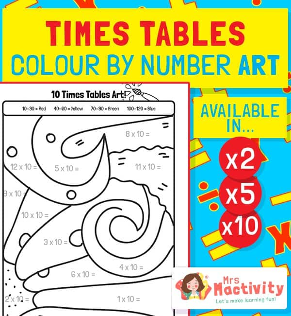 Times Tables Art - Colour By Numbers