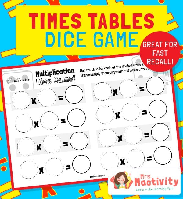 Times Tables Dice Game