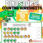 Dinosaur Counting to 10 Worksheets
