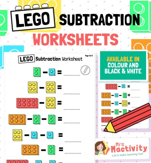 Lego Subtraction Worksheets Mrs Mactivity