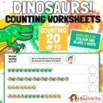 Dinosaur Counting to 20 Worksheets