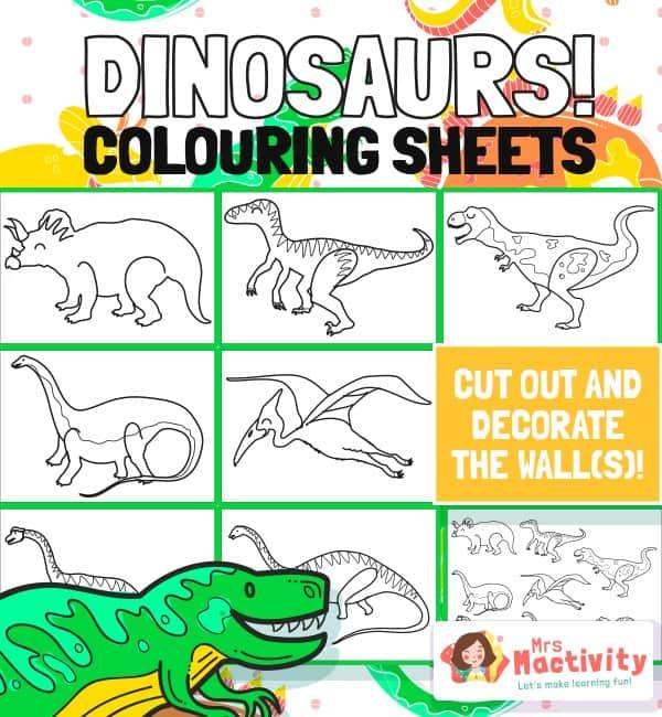 Dinosaur colouring sheets