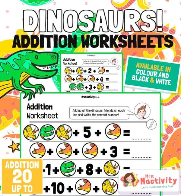 Dinosaur Addition Worksheet - Up to 20