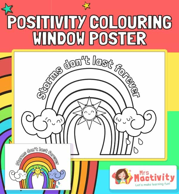 Rainbow Colouring Positivity Window Poster