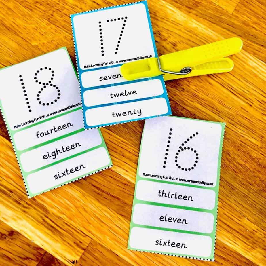 Number peg cards