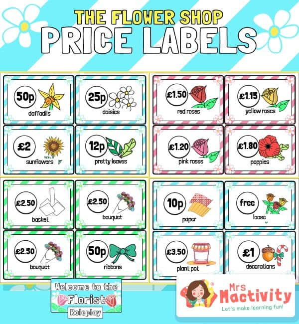 The Flower Shop Flower Price Labels