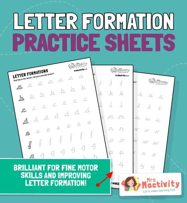 Alphabet Letter Formation Practice Sheet