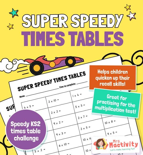 Super Speedy KS2 Times Table Practice Worksheet