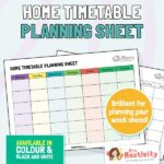 Home Learning Weekly Timetable Planner