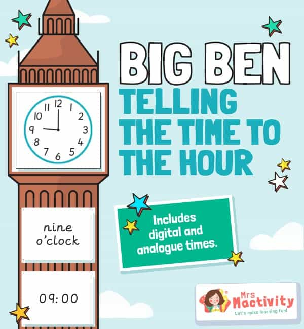 Big Ben Telling the Time Activity - On the Hour