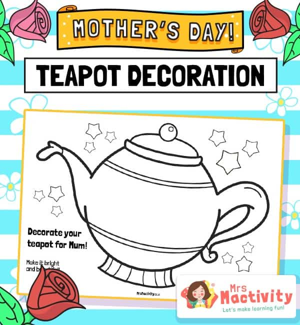 Mother's Day teapot colouring sheet