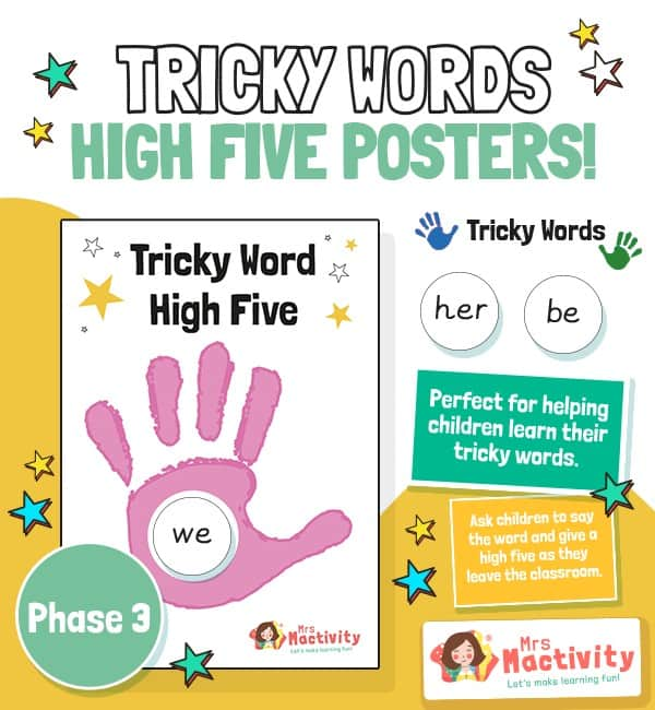 Phase 3 Tricky Words High Five Posters