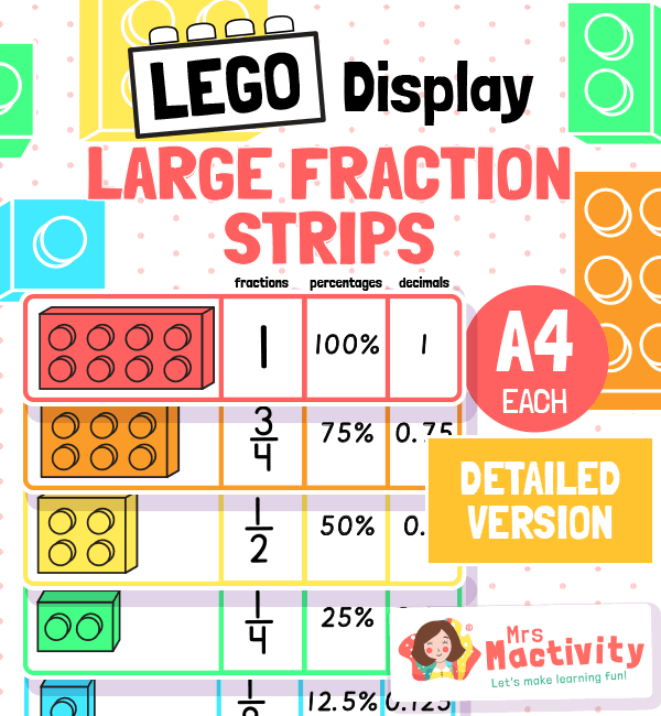 Lego Display Fraction Strips percentages and decimals