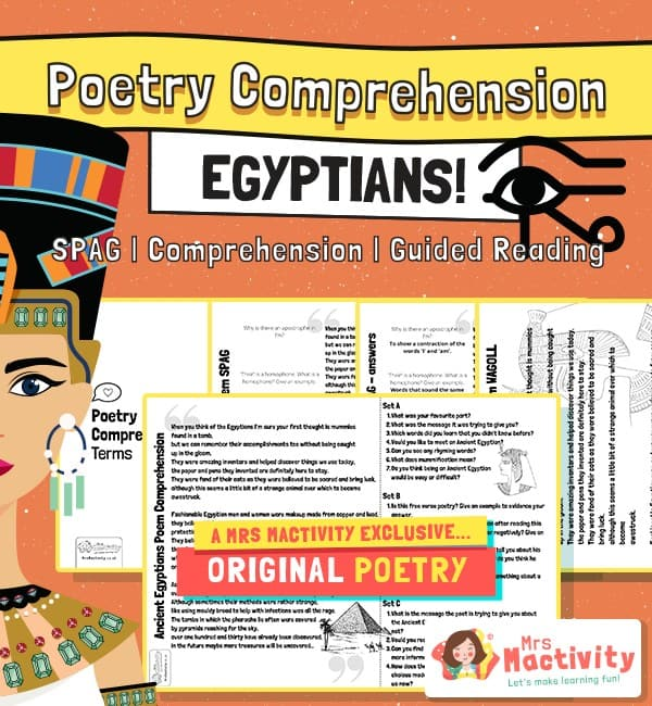 Original Egyptians Poetry Comprehension and Guided Reading Activity