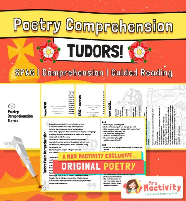 Original Tudors Poetry Comprehension and Guided Reading Activity