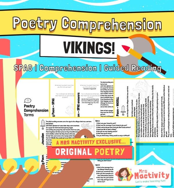 Original Vikings Poetry Comprehension and Guided Reading Activity