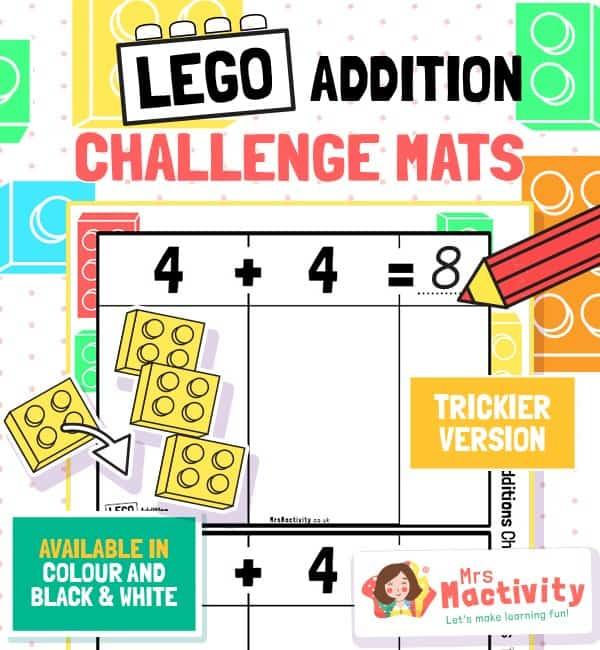 Lego Addition Challenge Mats - Trickier Version