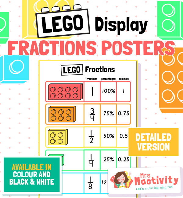 Lego Fractions Poster with Percentages and Decimals