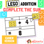 Lego Addition Complete the Sum Challenge Cards - Easier Version