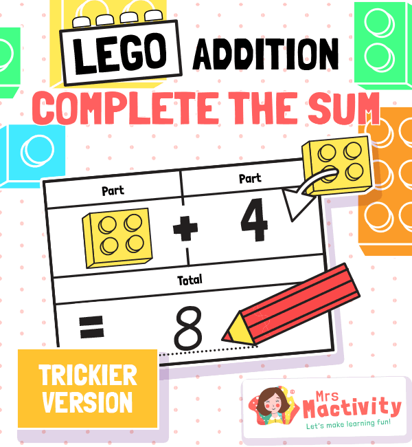 Lego Addition Complete the Sum Challenge Cards